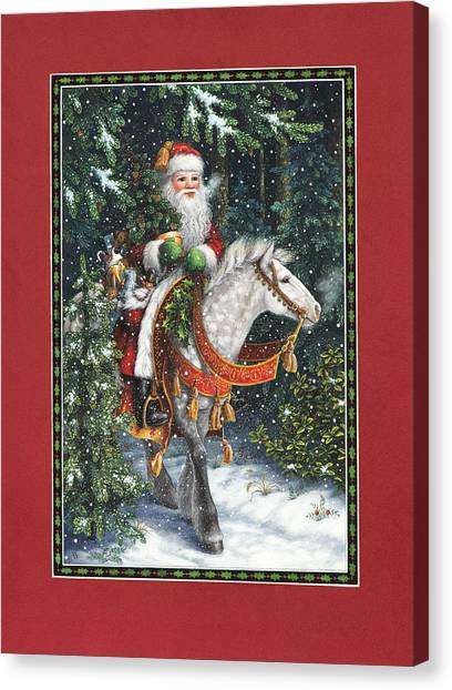 Santa Of The Northern Forest Canvas Print