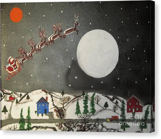 Canvas Print - Santa Over The Moon by Jeffrey Koss