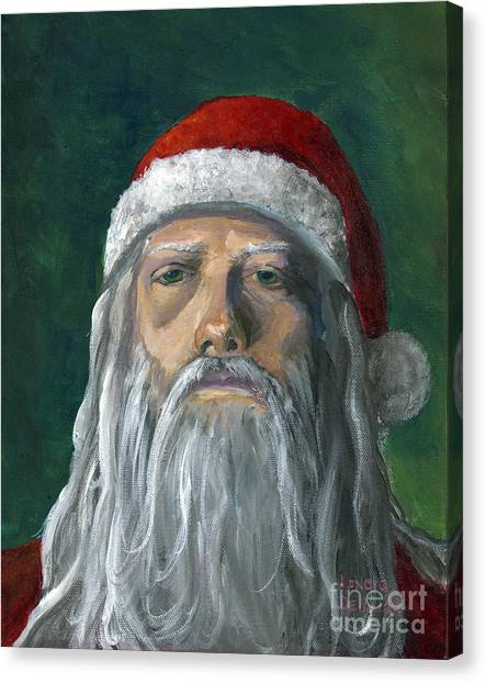 Santa Portrait Art Red And Green Canvas Print