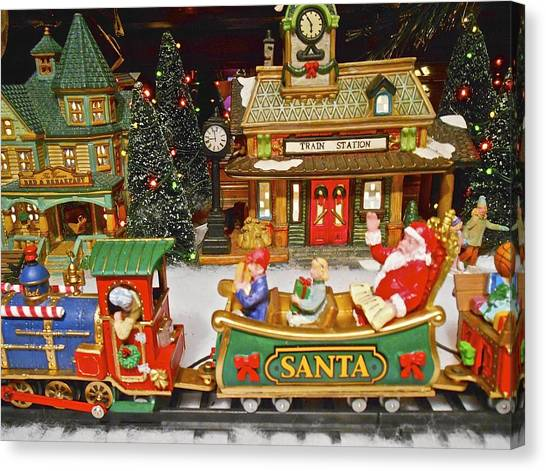 Horizontal Image Canvas Print - Santa Riding A Christmas Train by Joan Reese