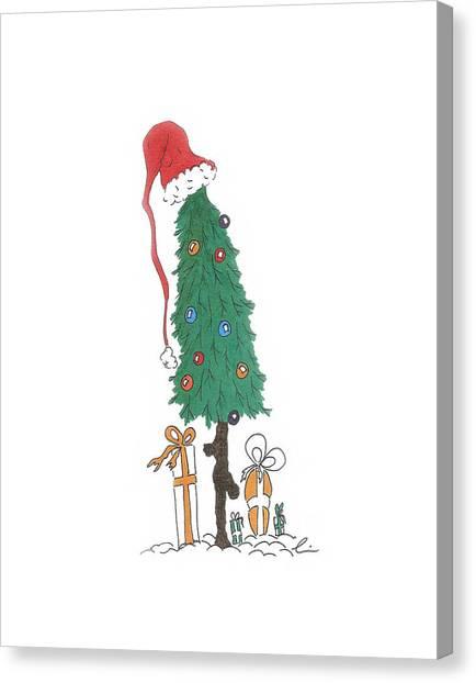 Santa Tree With Presents Canvas Print