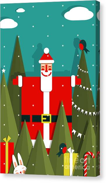 Winter Fun Canvas Print - Santa With Gifts And Presents In Woods by Popmarleo