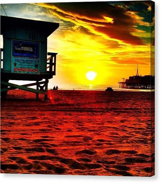 Lifeguard Canvas Print - #santamonica #santa #monica #sm #sunset by Thewinery Wine