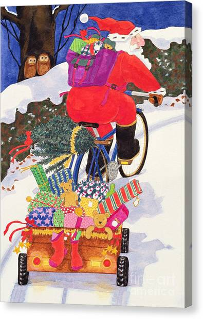 Backpacks Canvas Print - Santas Bike by Linda Benton