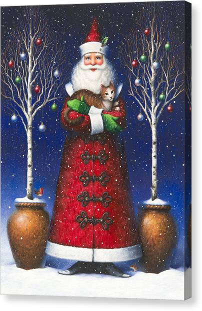 Santa's Cat Canvas Print