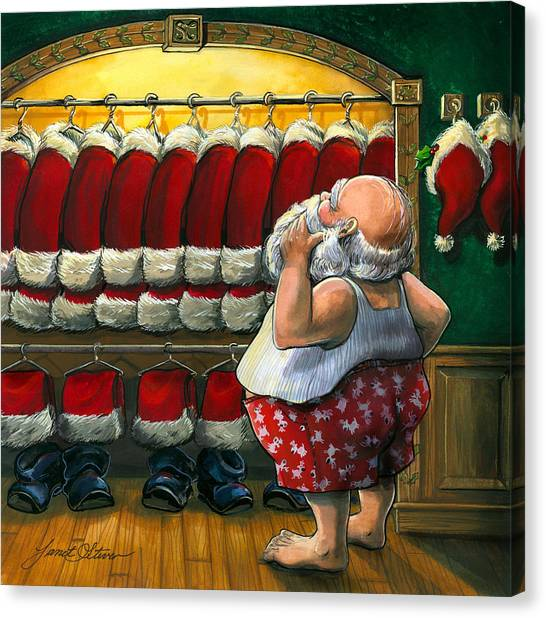 Folk Art Canvas Print - Santa's Closet by Janet Stever