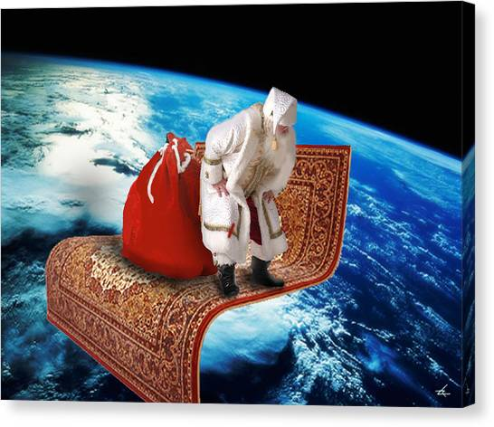 Santa's Flying Carpet Canvas Print