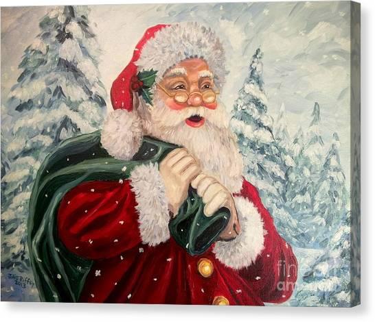 Santa's On His Way Canvas Print