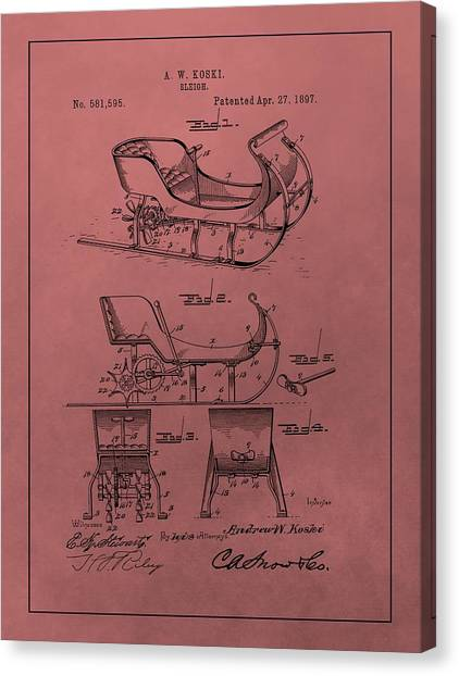 Santa Claus Canvas Print - Santa's Sleigh Patent 1897 by Dan Sproul