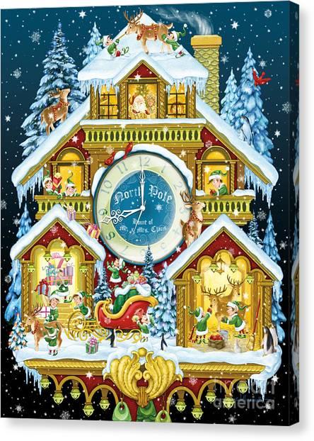 Santas Workshop Cuckoo Clock Canvas Print