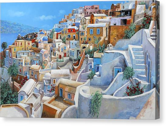 Greece Canvas Print - Santorini A Colori by Guido Borelli