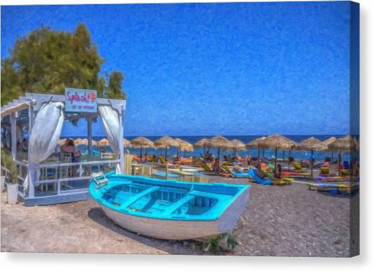 Santorini Beach Boat Grk4151 Canvas Print