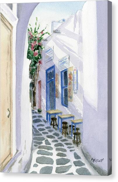 Greece Canvas Print - Santorini Cafe by Marsha Elliott
