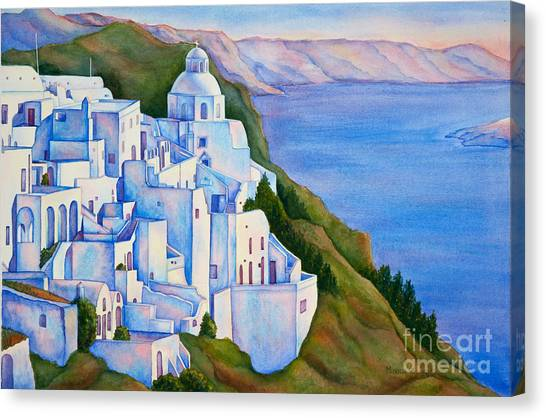 Santorini Greece Watercolor Canvas Print