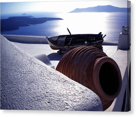 Santorini Island Early Sunset View Greece Canvas Print