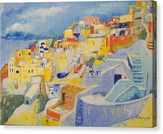 Santorini Canvas Print by Maria Karalyos