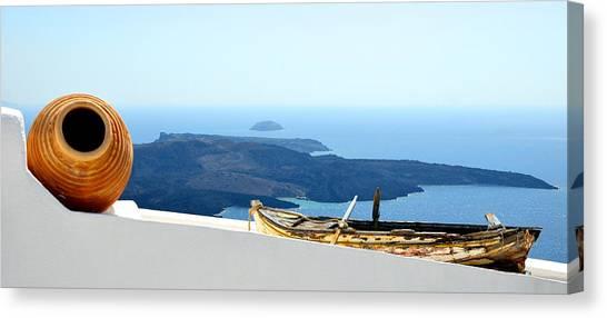 Santorini Rooftop Canvas Print
