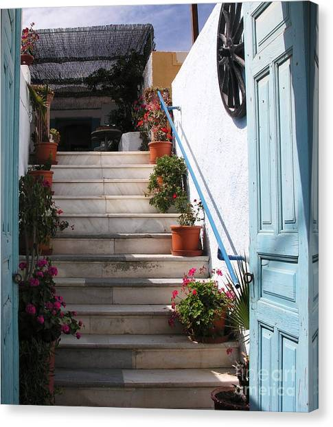 Santorini Steps Canvas Print by Mel Steinhauer