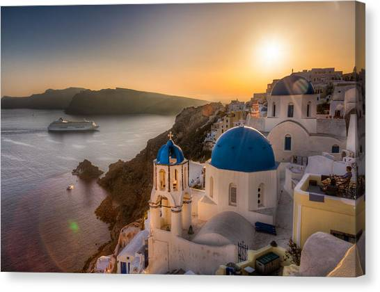 Santorini Sunset Cruise Canvas Print