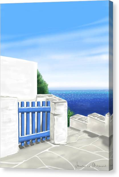 Island Canvas Print - Santorini by Veronica Minozzi