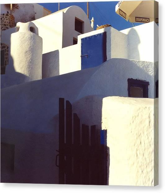 Santorini White Canvas Print by Andrea Simon