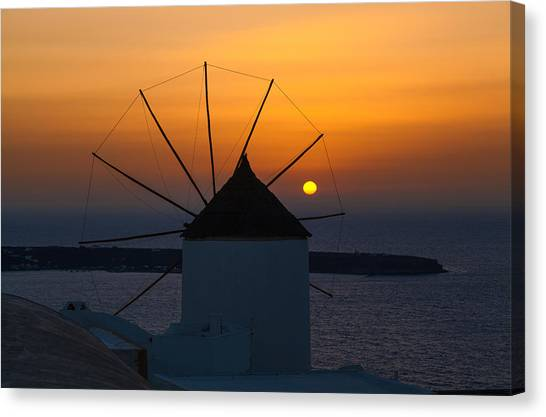 Santorini Windmill Sunset Canvas Print