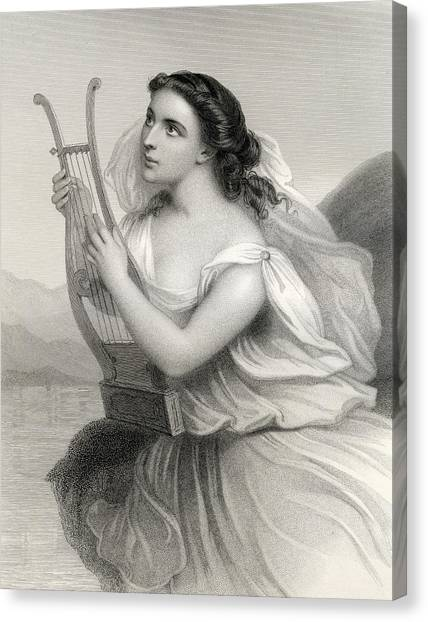 Lesvos Canvas Print - Sappho,illustration From World Noted Women By Mary Cowden Clarke, 1858 Engraving by Pierre Gustave Eugene Staal