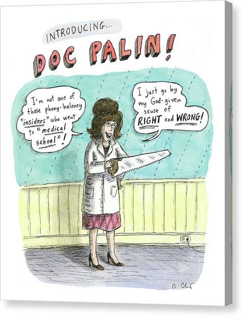 Republican Politicians Canvas Print - Sarah Palin Holds A Saw In Her Left Hand by Roz Chast