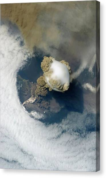 Sarychev Volcano Canvas Print by Nasa/science Photo Library