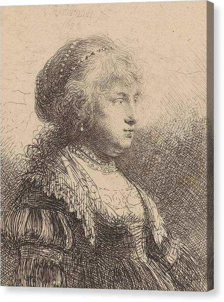 Rembrandt Canvas Print - Saskia With Pearls In Her Hair by Rembrandt