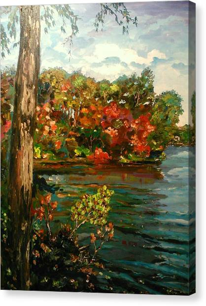 Canvas Print featuring the painting Sassaquin Pond by Ray Khalife
