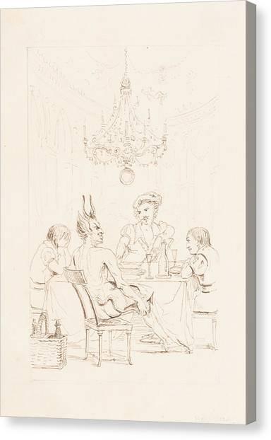 Satan Canvas Print - Satan And Three Men At A Table by Auguste Hervieu