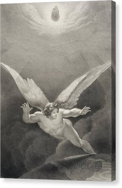 Angel Falls Canvas Print - Satan Leaps Over The Walls Of Heaven by Richard Edmond Flatters