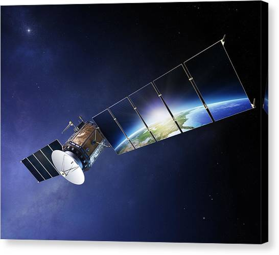 Satellite Canvas Print - Satellite Communications With Earth by Johan Swanepoel