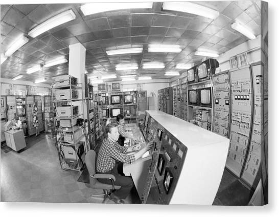 Comsats Canvas Print - Satellite Control Room, 1980 by Science Photo Library
