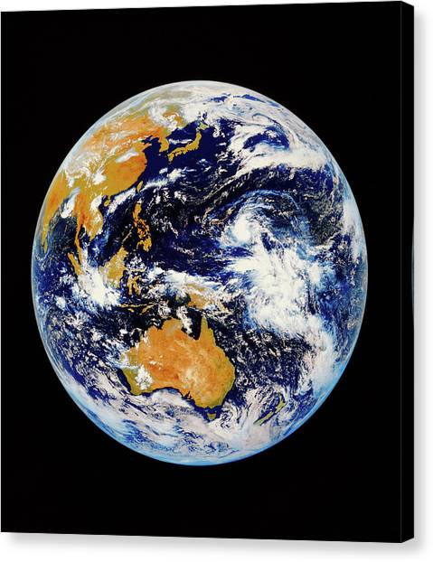 Satellite Image Of Australasia Canvas Print by Kevin A Horgan/science Photo Library