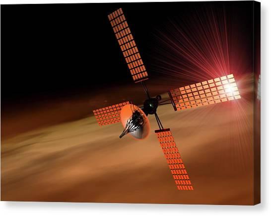 Satellite Orbiting Mars, Artwork Canvas Print by Victor Habbick Visions