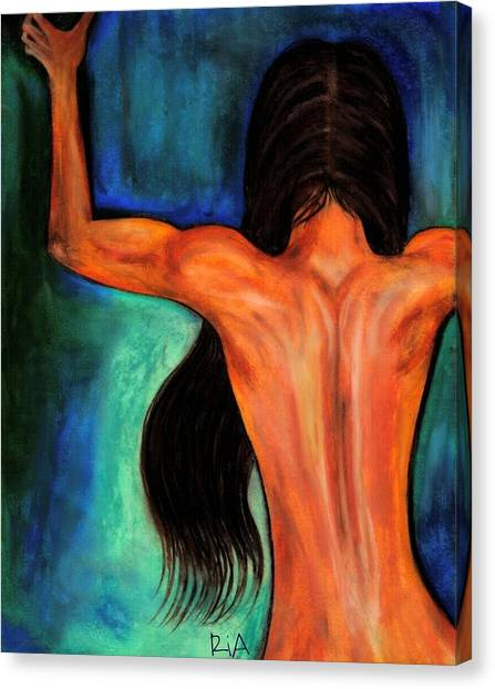 Nude Canvas Print - Satin Curves by Artist RiA