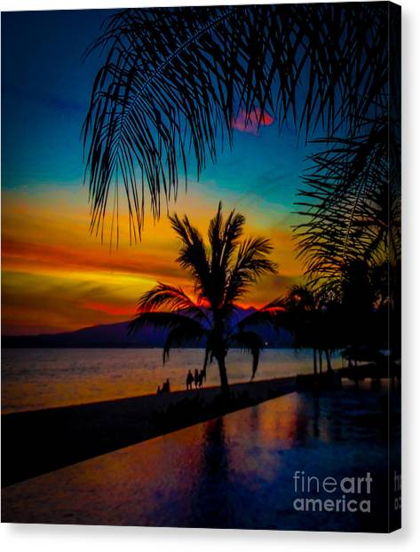 Saturated Mexican Sunset Canvas Print by Charlene Gauld