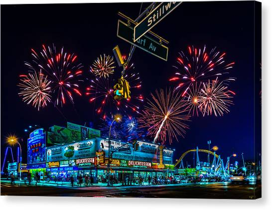 Saturday Night At Coney Island Canvas Print
