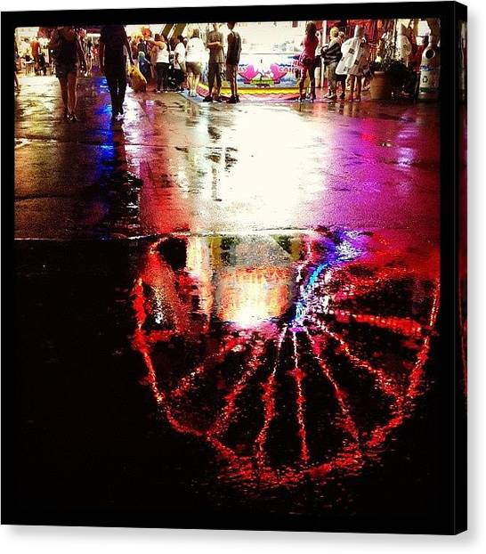 Rain Canvas Print - Saturday Night In The Rain At The by Heidi Hermes