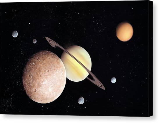 Saturn Canvas Print - Saturn And Moons by Richard Bizley