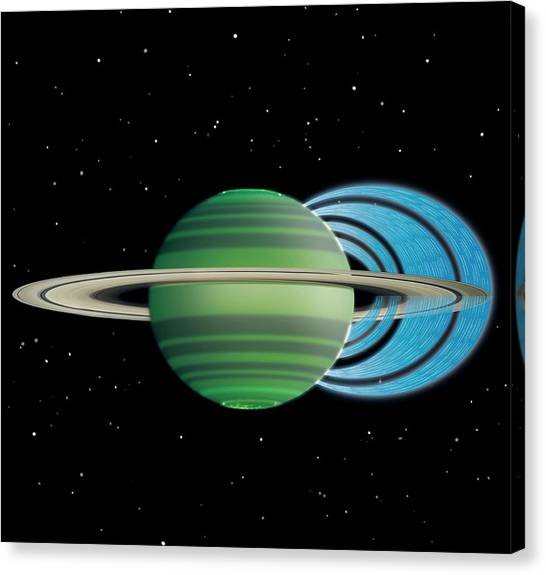 Keck Canvas Print - Saturn's Ring 'rain' by Nasa/jpl-caltech/space Science Institute/university Of Leicester