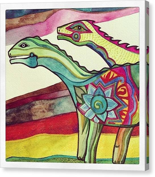 Dinosaurs Canvas Print - Sauropods #watercolor #painting by Megan Smith