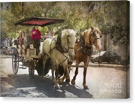 Savannah Carriage Ride Canvas Print