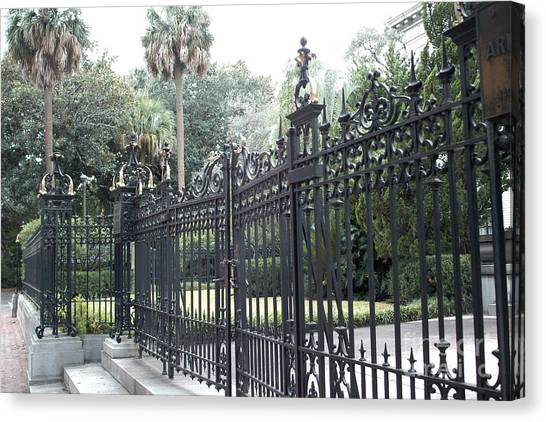 Street Rods Canvas Print - Savannah Georgia Mansion With Black Rod Iron Gates by Kathy Fornal