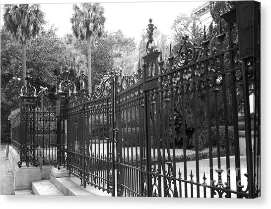 Street Rods Canvas Print - Savannah Mansions Black And White Rod Iron Gate - Savannah Black Gate Architecture by Kathy Fornal