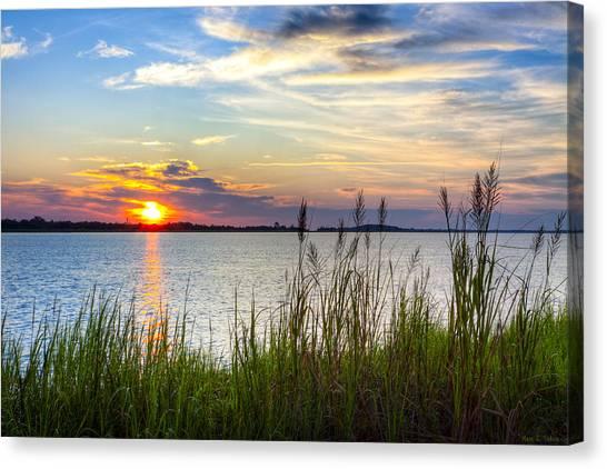 Savannah River At Sunrise - Georgia Coast Canvas Print