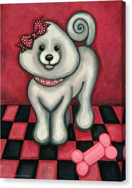 White Maltese Canvas Print - Savannah Smiles by Victoria De Almeida