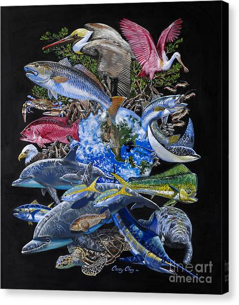 Spoonbills Canvas Print - Save Our Seas In008 by Carey Chen